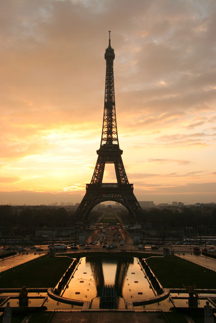 The Eiffel Tower at sunrise, from the Trocadero.