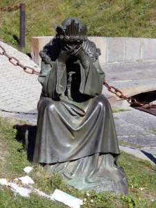 Statue of Our Lady weeping, Notre-Dame de La Salette.