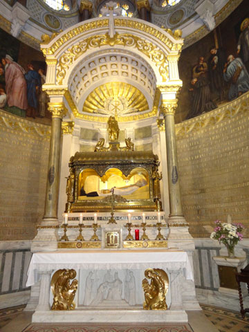 The preserved remains of St Jean-Marie Vianney are located in the Basilica at Ars.