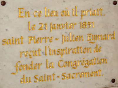 Commemorative plaque, Shrine of Our Lady of Fourvière.