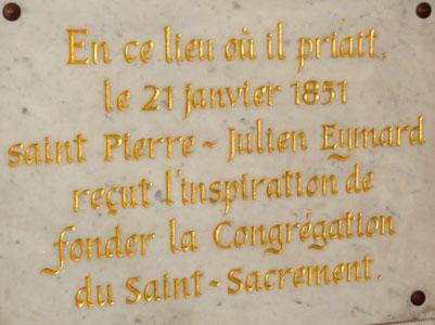 Commemorative plaque, Shrine of Our Lady of Fourvière.