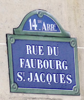 Street sign, rue du Faubourg Saint-Jacques.