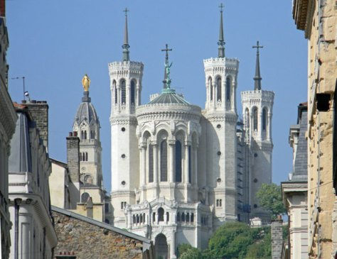 The Notre-Dame-de-Fourvière basilica in Lyon.