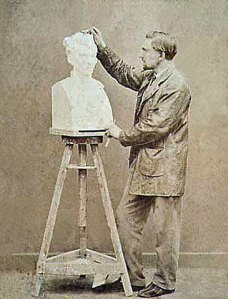 Rodin at work on Father Pierre-Julien Eymard (1863).