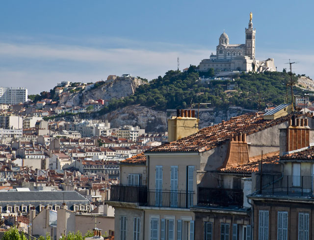 View from Saint-Charles station to the Basilica of Notre-Dame de la Garde, Marseille.