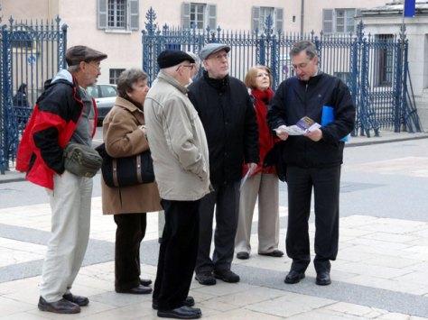 Fr Manuel Barbiero SSS (right) with Australian pilgrims at Notre-Dame de Fourvière, Lyon, October 2011.